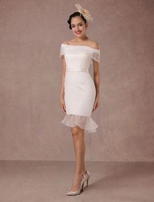 Kurzes Brautkleid Meerjungfrau Off-The-Shoulder Satin Vintage Brautkleid Rüschen Mini Braut Sommer Brautkleider 2021 Exclusive_2