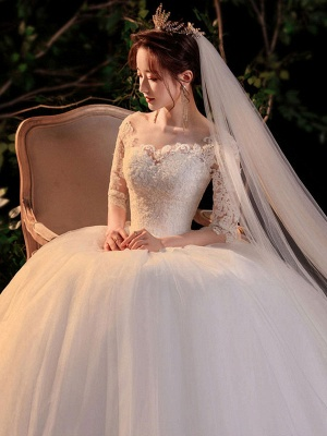 Simple Wedding Dress Eric White Ball Gown Jewel Neck Half Sleeves Applique Long Bridal Dresses_6