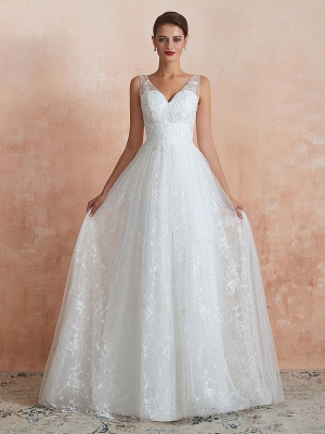 Wedding Dress 2021 A Line V Neck Sleeveless Floor Length Bridal Gowns With Train_3