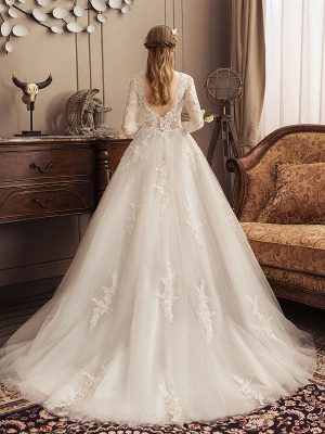 Ivory Wedding Dresses Lace Applique Jewel Neck 3/4 Length Sleeve Princess Bridal Gown With Train_3