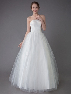 Tulle Wedding Dress Ivory Strapless Sleeveless Princess Dress Ball Gown Floor Length Bridal Dress Exclusive_6