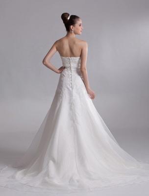 Elegant Ivory A-Line Strapless Rhinestone Tulle Bridal Wedding Dress_4