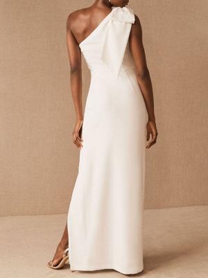 Einfache Brautkleider Mantel One Shoulder Ärmellose Schleifen Brautkleider_2