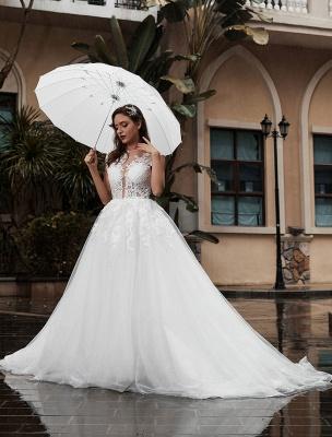 Preises Brautkleid Spitze Mieder Tüll Satin Stoff Sweep Zug Applikation Brautkleid Exklusiv Wedding_2
