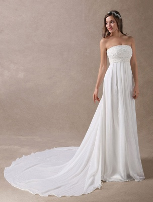 Beach Wedding Dresses Ivory Chiffon Strapless Lace Beaded Summer Bridal Gowns With Train Exclusive_3