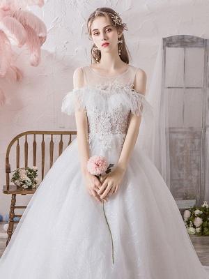 Wedding Dress Princess Silhouette Jewel Neck Short Sleeves Natural Waist Cathedral Train Bridal Dresses_6