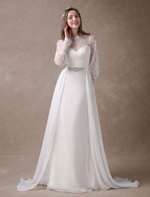 Weiße Brautkleider Langarm Spitze Chiffon Perlenstickerei Schärpe Illusion Strand Brautkleid Mit Zug Exklusiv_2