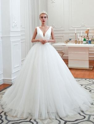 Princess Wedding Dress 2021 Ball Gown V Neck Sleeveless Natural Waist Court Train Bridal Gowns_2