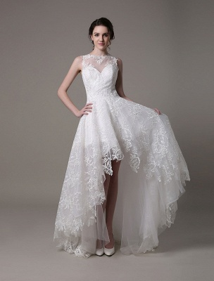 2021 Lace High-Low Brautkleid mit Llusion-Ausschnitt und Rücken exklusiv_4