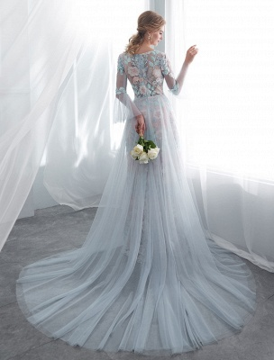 Colored Wedding Dresses Baby Blue Lace Long Sleeve Bridal Dress With Train_6