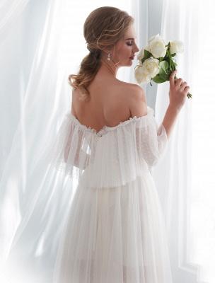 Ivory Wedding Dresses Off Shoulder Half Sleeve Tulle Beach Bridal Dress With Train_9