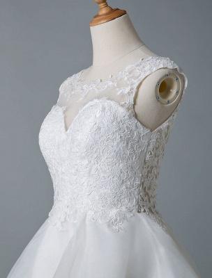 Brautkleider 2021 A Line Jewel Neck Ärmellos Natürliche Taille Tüll Kurzes Brautkleid_7