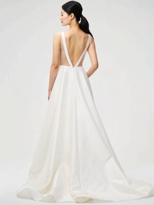 Weißes Vintage Brautkleid Kapelle-Schleppe Trägerlos Ärmellose Taschen Satin Stoff Traditionelle Kleider Für Die Braut_2