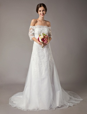 Wedding Dresses Ivory Lace Off Shoulder Half Sleeve Sequin Applique Bridal Dress With Train Exclusive_3