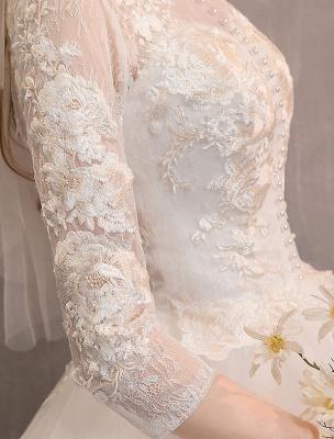 Tüll Brautkleider Elfenbein Illusion Ausschnitt Halbarm Bodenlangen Prinzessin Brautkleid_9