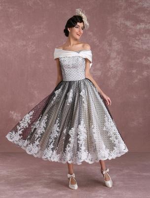 Black Wedding Dresses Vintage Short Bridal Gown Lace Off The Shoulder Polka Dot Print Bridal Dress With Bow At Back Exclusive_4