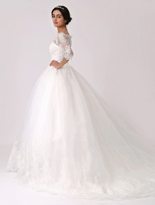 Off The Shoulder Princess Lace Wedding Dress With Illusion Neckline Exclusive_3