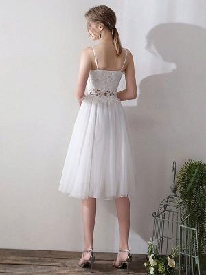 Short Wedding Dresses V Neck Sleeveless A Line Natural Tea Length Waist Organza Bridal Dresses_3
