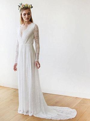 Robe de mariée en dentelle avec train A-ligne manches longues col en V robes de mariée ivoire_1