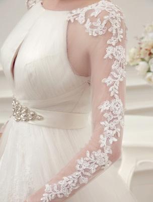 Brautkleider Ballkleid Brautkleid Langarm Spitze Applique Perlen Strass Schärpe Illusion Ausschnitt Brautkleid Mit Zug Exklusiv_7