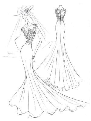 Weißes einfaches Hochzeitskleid Weißes Chiffon Illusion Ausschnitt Ärmellos Hofzug Applique Etui Brautkleider_5