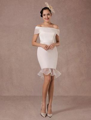 Kurzes Brautkleid Meerjungfrau Off-The-Shoulder Satin Vintage Brautkleid Rüschen Mini Braut Sommer Brautkleider 2021 Exclusive_4