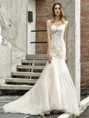 Wedding Dress Jewel Neck Sleeveless Natural Waist Lace Bridal Mermaid Dress With Train_1