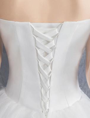 Spitze Brautkleider Elfenbein Trägerlos Ärmellos Applique Prinzessin Brautkleid Mit Zug_10