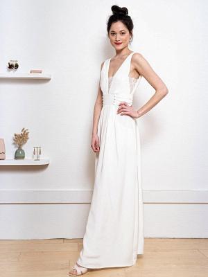 Weißes einfaches Hochzeitskleid Satin Stoff V-Ausschnitt Ärmellose Knöpfe A-Linie Lange Brautkleider_5