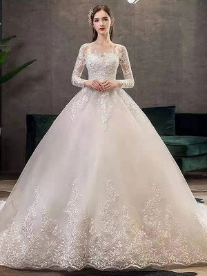 New Vintage Wedding Dresses Eric White Jewel Neck Long Sleeves Natural Waist Satin Fabric Cathedral Train Applique Traditional Dresses For Bride_1