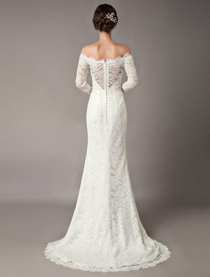 Lace Wedding Dresses Off The Shoulder Long Sleeve Beaded Sash Bridal Gowns With Train_5