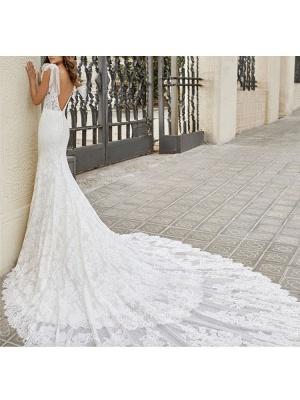 Brautkleid mit Zug Meerjungfrau Kleid Ärmellos Spitze V-Ausschnitt Lange Brautkleider_4