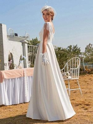 White Intage Wedding Dress V-Neck Sleeveless Natural Waist Satin Fabric Floor-Length Fringe Traditional Dresses For Bride_5