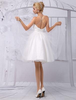 Tüll Knielanges Spaghtti Brautkleid in A-Linie mit langen Ärmeln Spitzenwickel Exklusiv_10