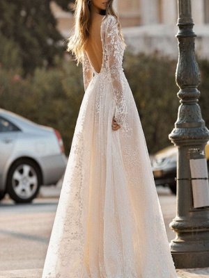Simple Wedding Dress A Line V Neck Long Sleeves Lace Floor Length Bridal Gowns_2