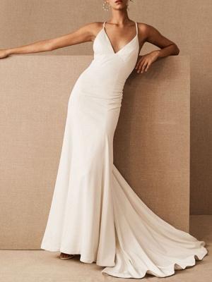 Einfache Hochzeitskleid Etui V-Ausschnitt Ärmellos Criss Cross Brautkleider mit Zug_1