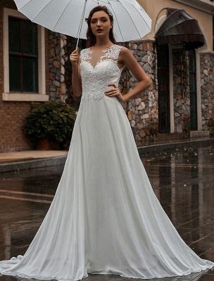 Weißes Brautkleid Illusion Ausschnitt Ärmellose Applikation Chiffon Bodenlangen Brautkleider Zug Kleid_1