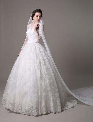 Kate Middleton Royal Wedding Dress Vintage Lace mit V-Ausschnitt und langen Ärmeln Exklusiv_3