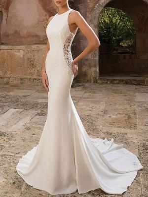 Simple Wedding Dress Lycra Spandex Jewel Neck Sleeveless Lace Mermaid Bridal Dresses_1