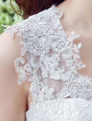 Weißes Hochzeitskleid Queen Anne Brautkleid mit Schärpe und Spitze_4