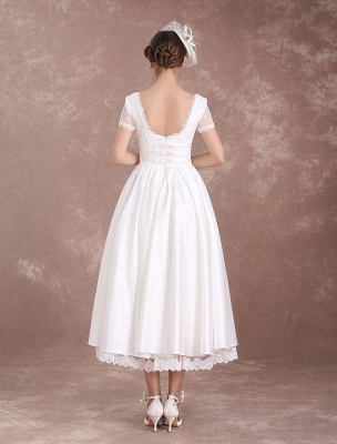 Vintage Wedding Dress Short Sleeve 1950'S Bridal Dress Backless Polka Dot Lace Trim Ivory Wedding Reception Dress Exclusive_7