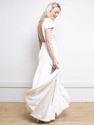 Weißes einfaches Hochzeitskleid Satin Stoff V-Ausschnitt Kurze Ärmel Rückenfrei Split Front A-Linie Lange Brautkleider_4