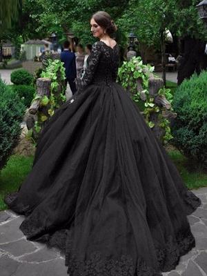 Gothic Brautkleider Prinzessin Silhouette mit langen Ärmeln Spitze Taft Hofzug Vintage Brautkleid_1