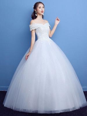 Robe de bal robe de mariée princesse silhouette parole longueur bateau cou manches courtes appliques tulle robes de mariée_4