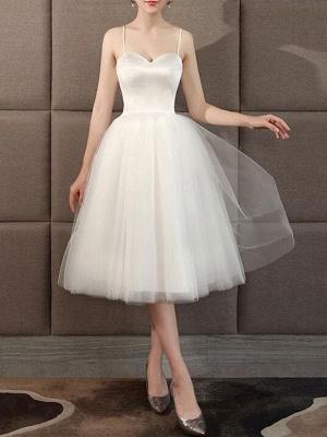 Wedding Dresses Sweetheart Neck Sleeveless A Line Tea Length Short Bridal Dress_1