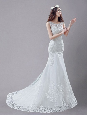 White Wedding Dress Lace Backless Bridal Dresses Rhinestones Beaded Mermaid Wedding Gown_3