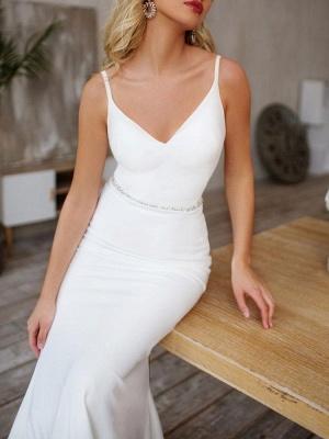 Sexy Brautkleid Lycra Spandex V-Ausschnitt Sleeveless Strap Sash Mermaid Brautkleider mit Zug_7