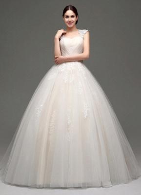 Tulle Cap Sleeves Keyhole Back Princess Wedding Dress With Bow And Rhinestone Sash_2