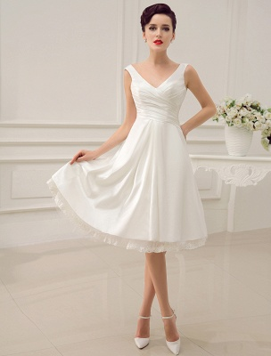 Simple Wedding Dresses Ivory Wedding Dress Knee-Length Backless Straps Lace Bridal Dress Exclusive_1