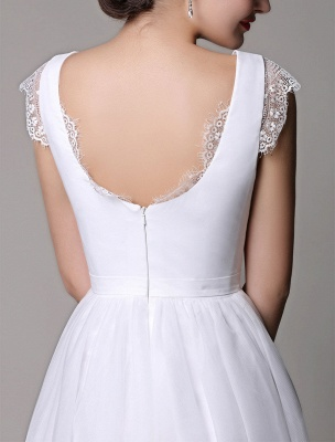 Simple Wedding Dresses Tulle Scoop Neck Knee Length Short Bridal Dress With Lace Cap Sleeves_8